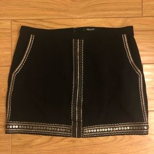 Madewell Sequin Embellished Black Skirt